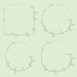 vector thin with curls vegetative green loach grass frame square rounded circle on a light green background for inscriptions and photos - 212815453