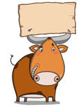 cute ox illustration  drawing and banner