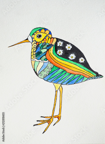 Hand drawing colorful bird watercolor - 212818603