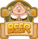 Cartoon Oktoberfest Woman Beer Label - 212819403