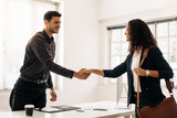 Business partners shaking hands after a meeting - 212819826