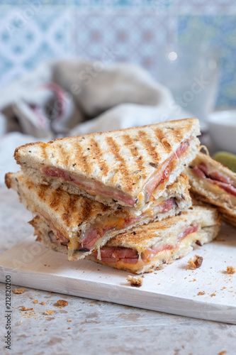 Fototapeta Grilled cheese sandwich with ham
