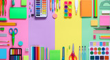 School Supplies In Frame With Colorful Paper Background 