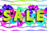 Sale summer poster with flowers on stripy background. Advertisement banner with hand drawn elements. Colorful template. - 212832062
