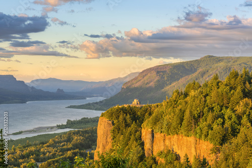 Vista House and the Gorge at sunset Oregon.