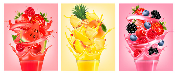 Set of labels with fruit in juice splashes. Strawberry, guava, watermelon, pineapple, peach, raspberry, blackberry, blueberry. Vector. © ecco