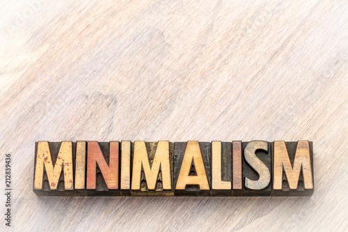 minimalism word abstract in vintage wood type