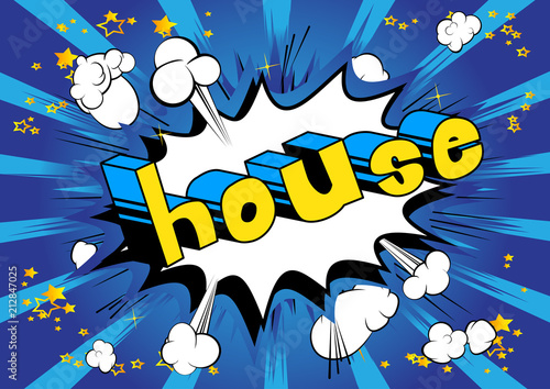 Fototapeta House - Comic book word on abstract background.