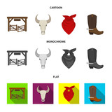 Gates, a bull skull, a scarf around his neck, boots with spurs. Rodeo set collection icons in cartoon,flat,monochrome style vector symbol stock illustration web. - 212849290