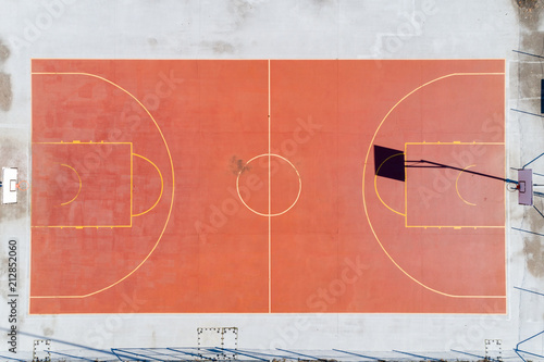 Aerial view of community basketball hard court