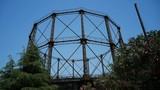 The metal structure is a remnant of the old gas factory in Athens, Greece. Nowadays it serves as a museum and event area known as Technopolis. - 212857858