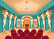 Постер, плакат: Vector dancing hall with atlas pillars and armchairs for audience spectators Interior of ballroom with titan atlant columns for presentation or royal reception in luxury medieval palace