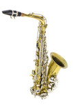 isolated in white portrait of an alto saxophone / gold and silver brass saxophone in white background