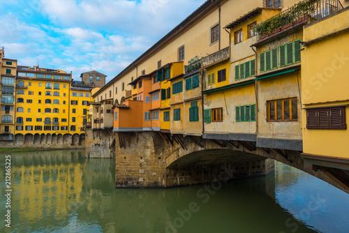 Ponte Vecchio Bridge over Arno river in Florence, Italy - 212865225