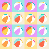 Colorful pattern with beach balls on squared background - 212866476