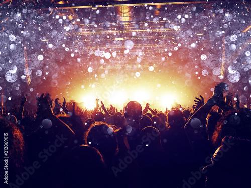 Fotobehang Muziek Silver lights on a concert crowd