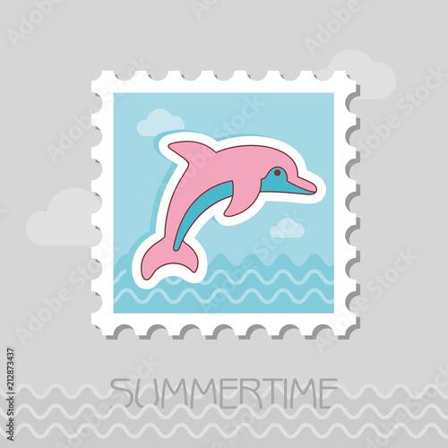 Fototapeta Dolphin stamp. Summer. Vacation