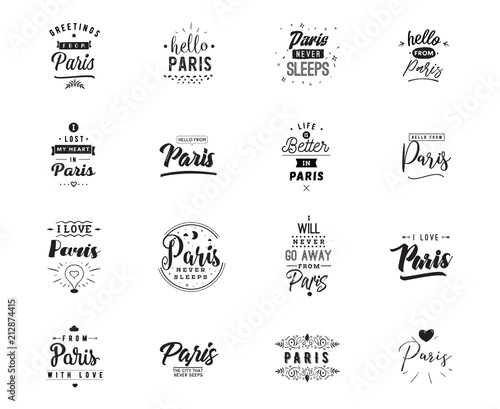 Fridge magnet Greeting cards, vector design. Isolated logos. Typography set.