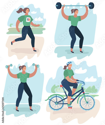 Wall mural Sport woman doing sports