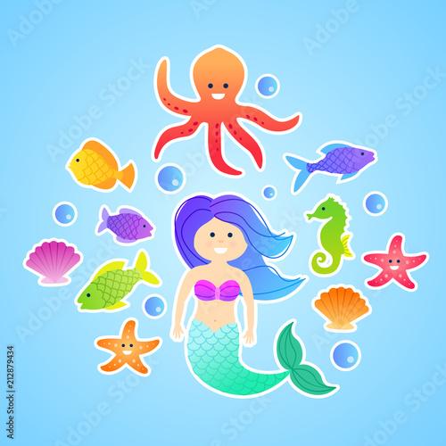 Set of cute cartoon vector mermaid underwater stickers - 212879434