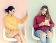 Women Friends are Sitting and Using Mobile Phones Indoor