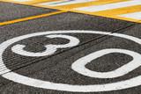 Speed limit road marking, 30 km pe hour - 212887459