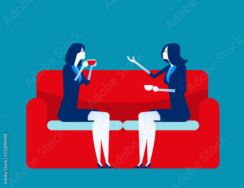 Business people meeting talking. Concept business vector illustration. Flat character style. Red sofa, Meeting