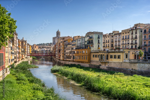 Looking down the River Onyar in Girona Catalonia Spain - 212890875