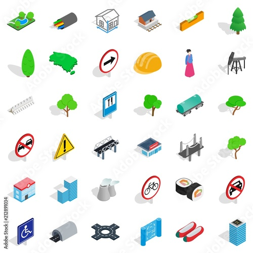 Poster Bridge icons set. Isometric style of 36 bridge vector icons for web isolated on white background