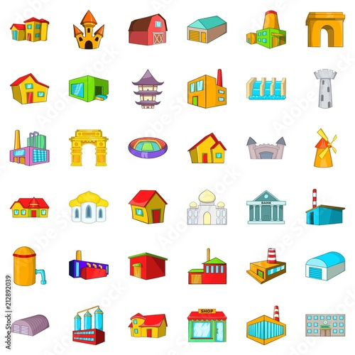 Poster City building icons set. Cartoon style of 36 city building vector icons for web isolated on white background