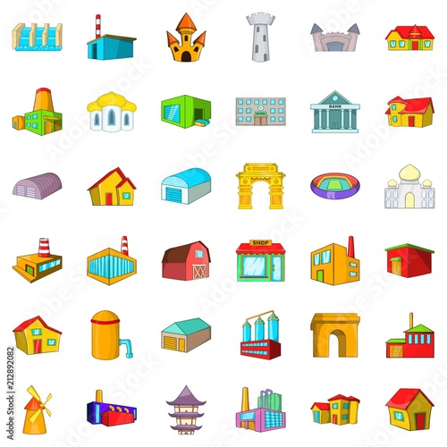 Old building icons set. Cartoon style of 36 old building vector icons for web isolated on white background