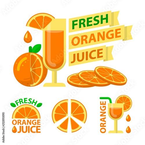 Emblematy odznaki świeżego soku pomarańczowego
