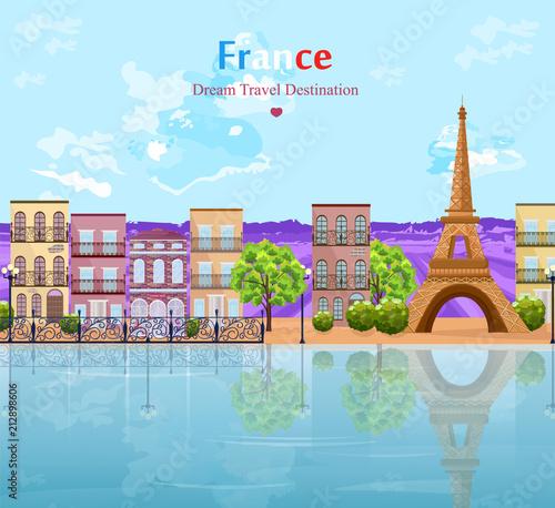 Fotobehang Lichtblauw Paris landscape architecture of the city Vector. Tour Eiffel famous attractions view