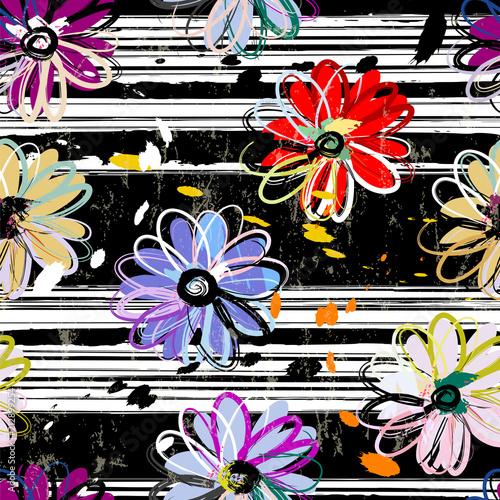 Fotobehang Abstract met Penseelstreken seamless flower pattern background, with strokes and splashes