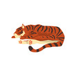 Tiger sleeping on the floor, wild cat, predator cartoon vector Illustration on a white background