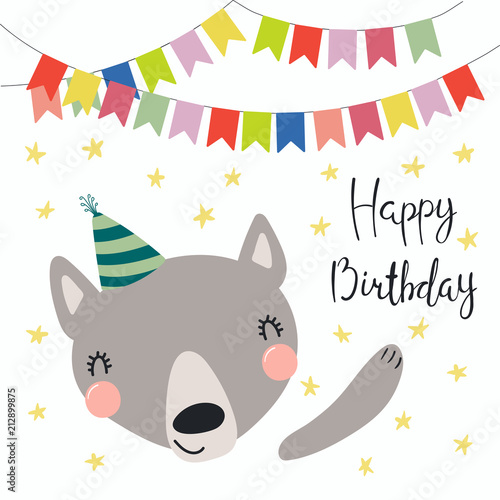 Hand Drawn Birthday Card With Cute Funny Wolf In A Party Hat Bunting Lettering