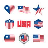 American flag vector emblems, USA flaf logo design elements - 212903491