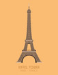 Modern design poster with colorful background of Eiffel Tower (Paris, France). Vector illustration