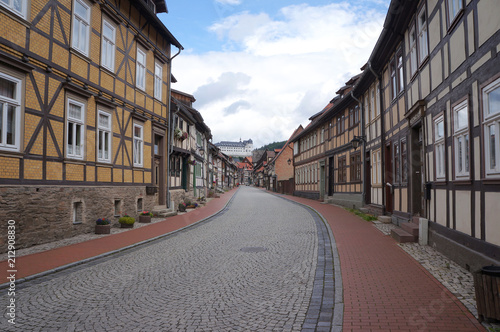 Fotobehang Smalle straatjes Historical center of Stolberg, a town and former municipality in the district of Mansfeld-Südharz, in the German State of Saxony-Anhalt, Germany
