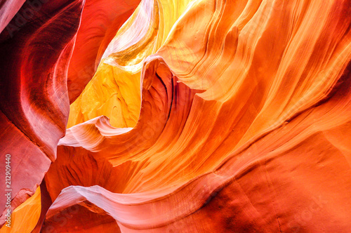 In de dag Arizona Rising Waves of Glowing Sandstone in Antelope Slot Canyon near Page, Arizona