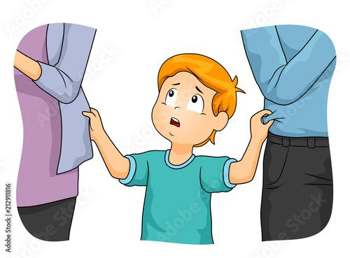 Kid Boy Parents Neglect Illustration - 212911816
