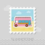 Double decker open top sightseeing city bus stamp - 212913087