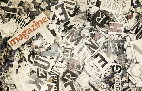 the word Magazine and random letters in toned color