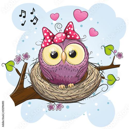 Fotobehang Uilen cartoon Cartoon Owl in a nest on a branch