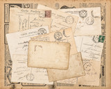 Vintage postcards handwritten letter Used paper background - 212919081