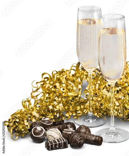 Champagne Flutes with Chocolate and Streamer