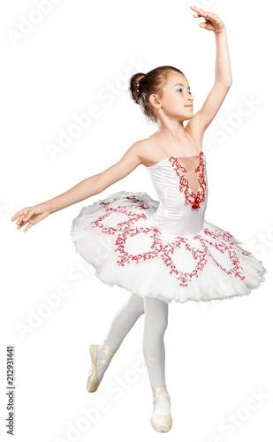 Beautiful Girl Ballet Dancing Isolated
