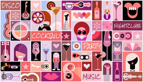 Fototapeta Disco Party pop art collage