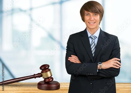 Business man and justice hamer