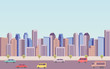 flat icon design of downtown city landscape and car on road under blue sky background - 212938432
